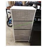 4 Drawer Soft Cloth Organizer White/Grey