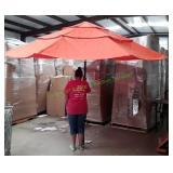 Orange Outdoor Patio Umbrella Crank Open