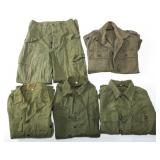 WWII US ARMY HBT COMBAT SHIRT & PANTS MIXED LOT