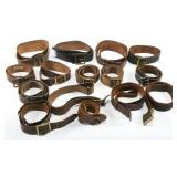 WWII US ARMY & USMC NCO LEATHER BELT LOT OF 15
