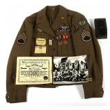 WWII 8th AAF CATERPILLAR CLUB NAMED UNIFORM GROUP