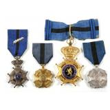 BELGIUM ORDER OF LEOPOLD II MEDAL LOT OF 4