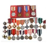 POLAND MIXED LOT OF 25 POLISH MEDALS AND BADGES