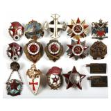 RUSSIA USSR MIXED LOT OF 16 BADGES AND INSIGNIA