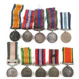 WWII BRITISH & CANADIAN SERVICE MEDAL LOT OF 10