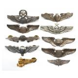 WWII US ARMY AIR FORCE PILOT WINGS MIXED LOT OF 10