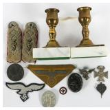 WWII GERMAN BADGE INSIGNIA & CANDLE HOLDERS LOT