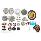 WWII GERMAN BADGE INSIGNIA & TINNIES LOT OF 23