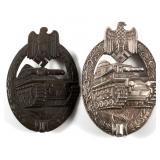 WWII GERMAN TANK BADGE SILVER & BRONZE LOT OF 2