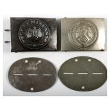 WWII GERMAN BELT BUCKLE AND ID TAG LOT OF 4