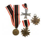 WWII GERMAN WAR MERIT CROSS MEDAL LOT OF 4