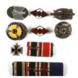 WWII GERMAN MEDAL RIBBON AND INSIGNIA LOT OF 9
