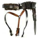 WWII GERMAN AMMO BELT COMBAT SET WITH K98 BAYONET