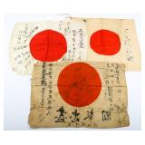 WWII JAPANESE SIGNED FLAG LOT OF 3