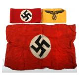 WWII GERMAN FLAG AND ARMBAND LOT OF 3