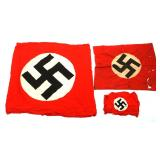 WWII GERMAN FLAG MIXED LOT OF 3