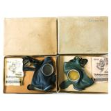 WWII GERMAN CIVILIAN GAS MASK & BOX LOT OF 2