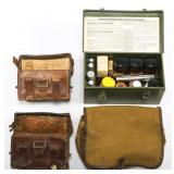 WWII GERMAN ARMY MEDIC FIELD BOX POUCH & BAG LOT