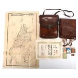 WWII JAPANESE OFFICER LEATHER CASE & MAP LOT OF 2