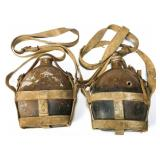 WWII JAPANESE ARMY CANTEEN WITH STRAP LOT OF 2