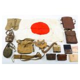 WWII JAPANESE ARMY FIELD GEAR & FLAG GROUPING