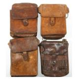 WWII JAPANESE ARMY LEATHER MAP CASE LOT OF 4