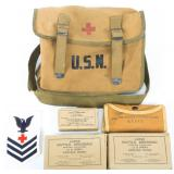 WWII US NAVY CORPSMAN FIELD MEDIC BAG WITH CONTENT