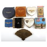 WWII MILITARY MAKEUP COMPACT SWEATHEART LOT OF 9