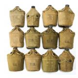 WWII US ARMY USMC CANTEEN LOT OF 12