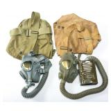 WWII US ARMY CHEMICAL CORPS GAS MASK LOT OF 2