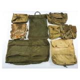 WWII US ARMY FIELD PACK POUCH & BAG MIXED LOT OF 8