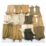 WWII US ARMY COMBAT CANVAS LEGGINGS LOT OF 13
