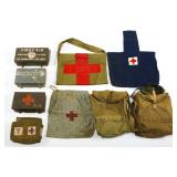 WWII US ARMY MEDIC FIRST AID BOX & POUCH MIXED LOT