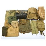 WWII US ARMY BACKPACK POUCH & FIELD BAG MIXED LOT
