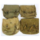 WWII US ARMY MUSETTE BAG LOT OF 4