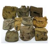 WWII WORLD MILITARY FIELD BAG MIXED LOT OF 10