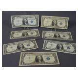 7 Blue Seal One Dollar Silver Certificate Notes