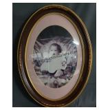 Vintage Convex Bubble Glass Frame with Baby Photo