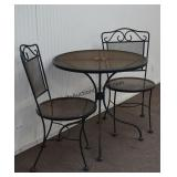 Wrought Iron 3pc. Bistro Table and Chair Set