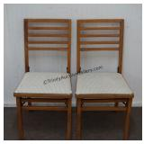 Vintage Wooden Cushion Seat Folding Chairs