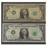 2 1963-B Joseph Barr One Dollar Bills