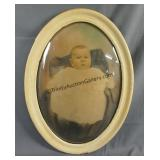 Antique Baby Photo in Convex Bubble Glass Frame