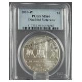 2010-W Disable Veterans MS69 Silver Dollar