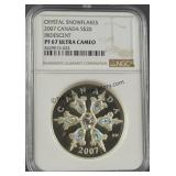 2007 Canada Crystal Snowflakes Sterling $20 Coin