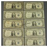 10 1935 1957 Silver Certificate $1 Currency Notes