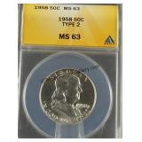 1958 Franklin Half Dollar Type 2 ANACS MS 63