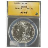 1885 Morgan Silver Dollar ANACS AU 58
