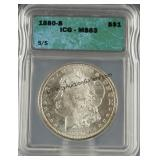 1880-S Morgan Silver Dollar ICG MS 63