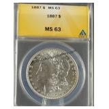 1887 Morgan Silver Dollar ANACS MS 63