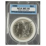 1890 Morgan Silver Dollar NGA MS 66